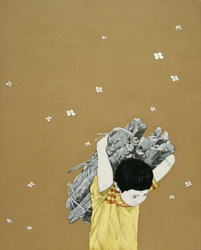 이상선_兒孩(우리들의 자화상)-날으는 들꽃  162x130cm acrylic on canvas 2009.jpg