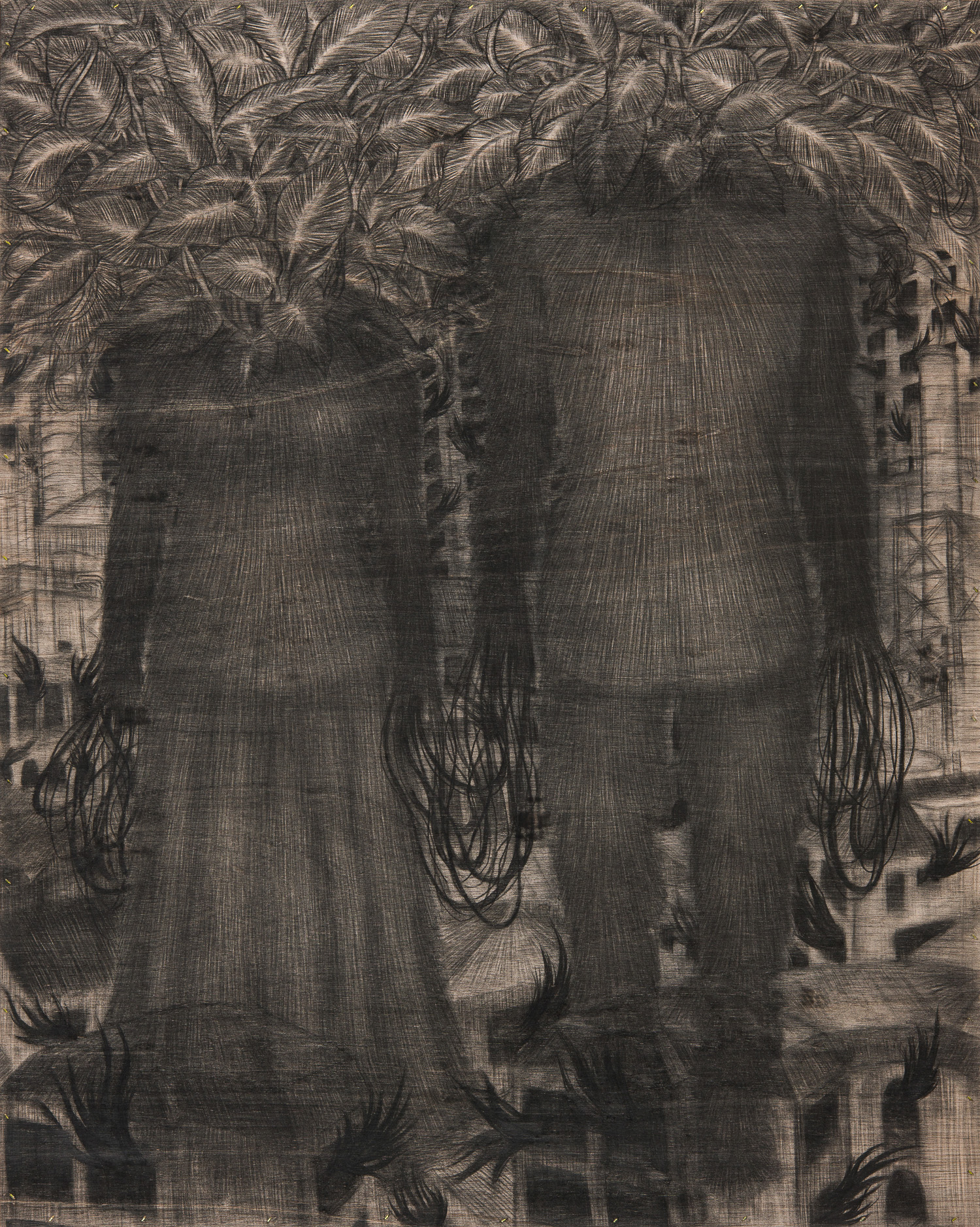 [15p2221] city of two people_conte on wood board_90.9×72.7_2015.jpg